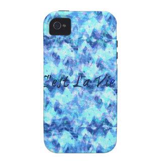 C'EST LA VIE, REVISITED Blue French Typography Art iPhone 4 Case