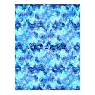 C'EST LA VIE, REVISITED Blue French Typography Art Postcard
