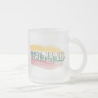 C'est ma vie frosted glass coffee mug