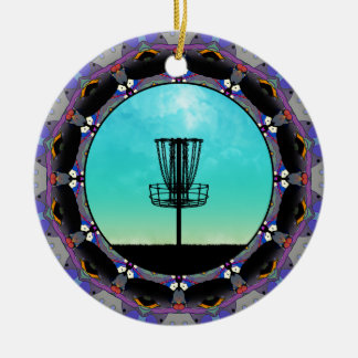 Cesta 3 del extracto del golf del disco adorno navideño redondo de cerámica