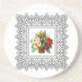 cesta colorida de la flor posavasos manualidades