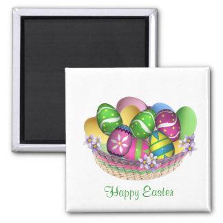 Cesta con el imán de los huevos de Pascua