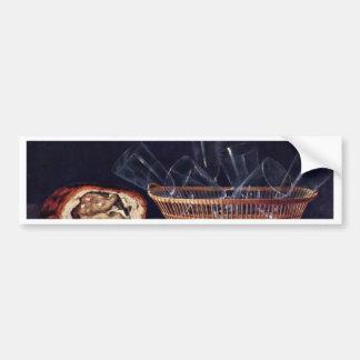 Cesta con la empanada de cristal y una letra por S Etiqueta De Parachoque