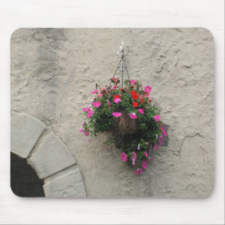 Cesta con las flores que cuelgan en ventana del alfombrillas de ratón