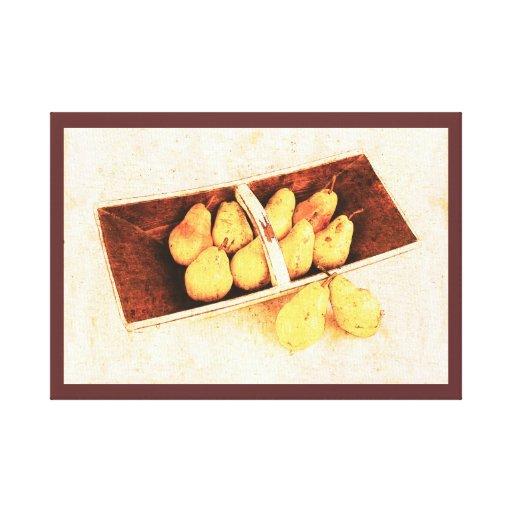 cesta con las peras lienzo envuelto para galerias