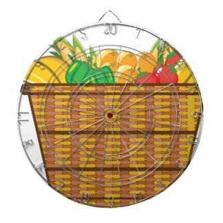 Cesta con vector de las frutas y verduras