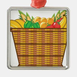 Cesta con vector de las frutas y verduras adorno navideño cuadrado de metal