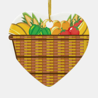 Cesta con vector de las frutas y verduras adorno navideño de cerámica en forma de corazón