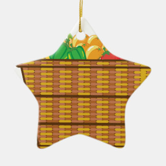 Cesta con vector de las frutas y verduras adorno navideño de cerámica en forma de estrella