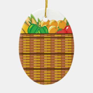 Cesta con vector de las frutas y verduras adorno navideño ovalado de cerámica