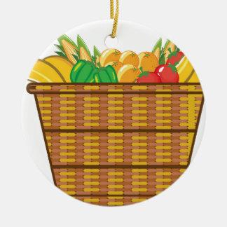 Cesta con vector de las frutas y verduras adorno navideño redondo de cerámica