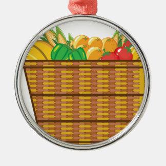 Cesta con vector de las frutas y verduras adorno navideño redondo de metal