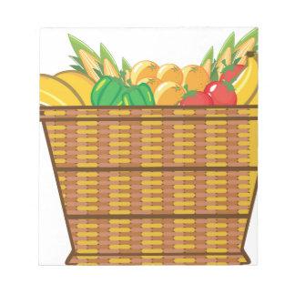 Cesta con vector de las frutas y verduras bloc de papel