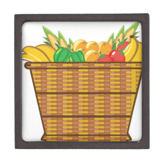 Cesta con vector de las frutas y verduras caja de recuerdo de calidad