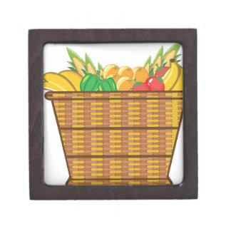 Cesta con vector de las frutas y verduras cajas de regalo de calidad