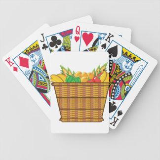 Cesta con vector de las frutas y verduras cartas de juego