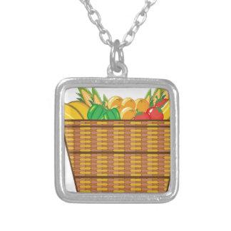 Cesta con vector de las frutas y verduras colgante cuadrado