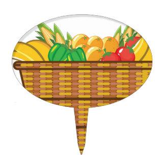 Cesta con vector de las frutas y verduras decoración para tarta