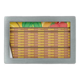 Cesta con vector de las frutas y verduras hebillas de cinturón rectangulares