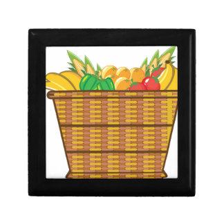 Cesta con vector de las frutas y verduras joyero cuadrado pequeño