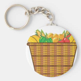 Cesta con vector de las frutas y verduras llavero redondo tipo pin