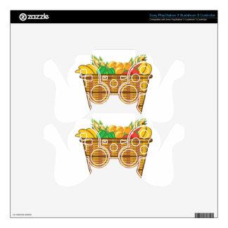 Cesta con vector de las frutas y verduras mando PS3 calcomanía