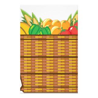 Cesta con vector de las frutas y verduras papeleria personalizada