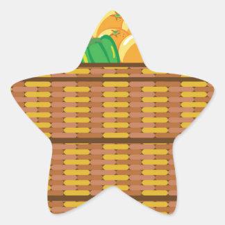 Cesta con vector de las frutas y verduras pegatina en forma de estrella