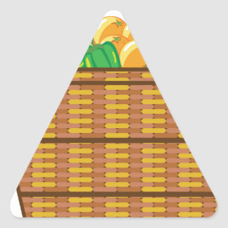 Cesta con vector de las frutas y verduras pegatina triangular