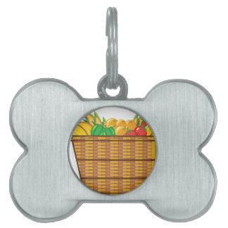 Cesta con vector de las frutas y verduras placa mascota