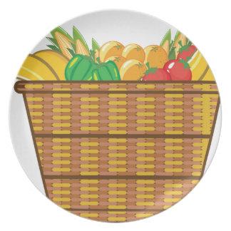 Cesta con vector de las frutas y verduras plato para fiesta