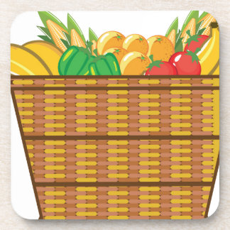 Cesta con vector de las frutas y verduras posavasos de bebida