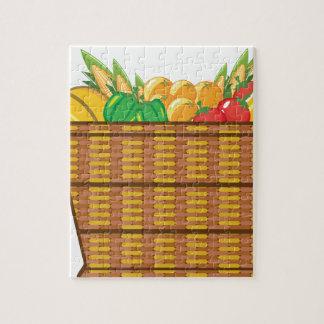 Cesta con vector de las frutas y verduras rompecabeza con fotos