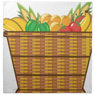 Cesta con vector de las frutas y verduras servilleta imprimida