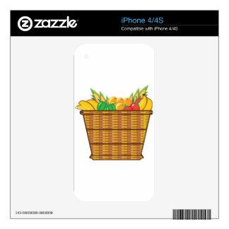 Cesta con vector de las frutas y verduras skins para eliPhone 4