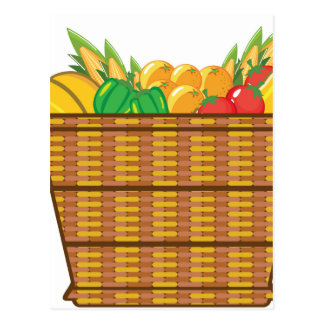 Cesta con vector de las frutas y verduras tarjeta postal