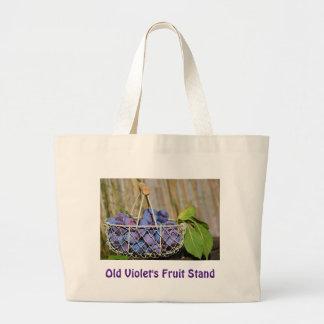 Cesta de ciruelos púrpuras bolsa tela grande