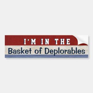 Cesta de cita divertida de Hillary de la elección Pegatina Para Auto