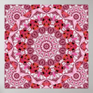 Cesta de cordón, rojo abstracto, rosa, mandala bla posters