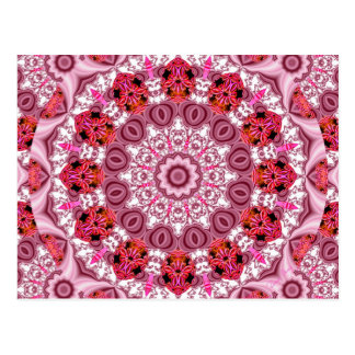 Cesta de cordón, rojo abstracto, rosa, mandala postal