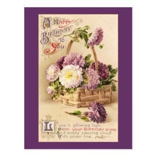 Cesta de cumpleaños del vintage de las momias tarjetas postales