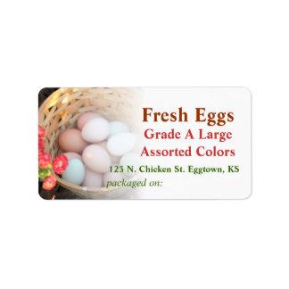 Cesta de etiqueta de los huevos etiqueta de dirección