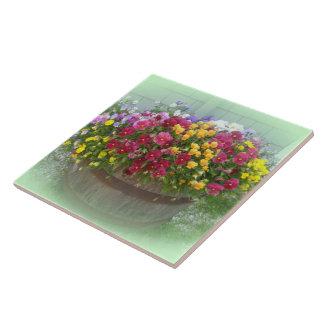 Cesta de flores azulejos cerámicos