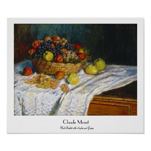 Cesta de fruta con las manzanas y las uvas Claude  Posters