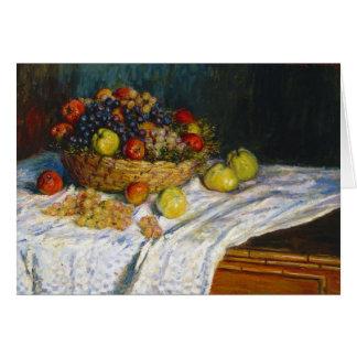 Cesta de fruta con las manzanas y las uvas Claude Tarjeta Pequeña