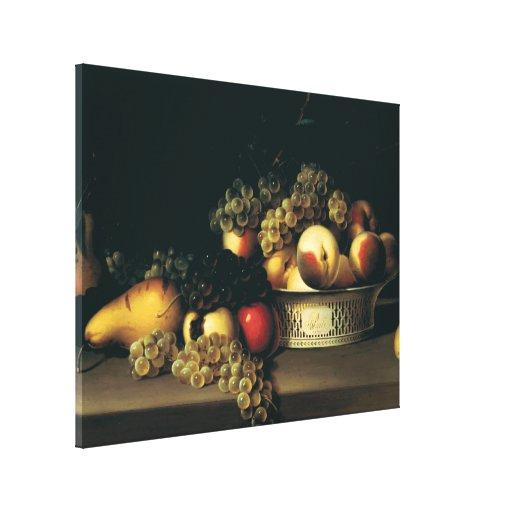 Cesta de fruta de James Peale - circa 1822 Impresiones En Lona Estiradas