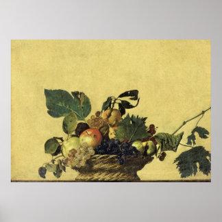 Cesta de fruta por Caravaggio Póster