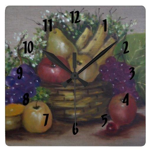 cesta de fruta reloj cuadrado