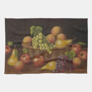 Cesta de fruta toallas de cocina