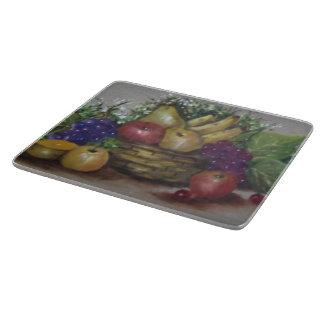 Cesta de frutas tabla para cortar